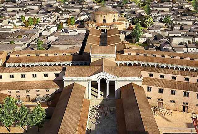 дворцовый комплекс императора галерия, реконстукция на рисунке