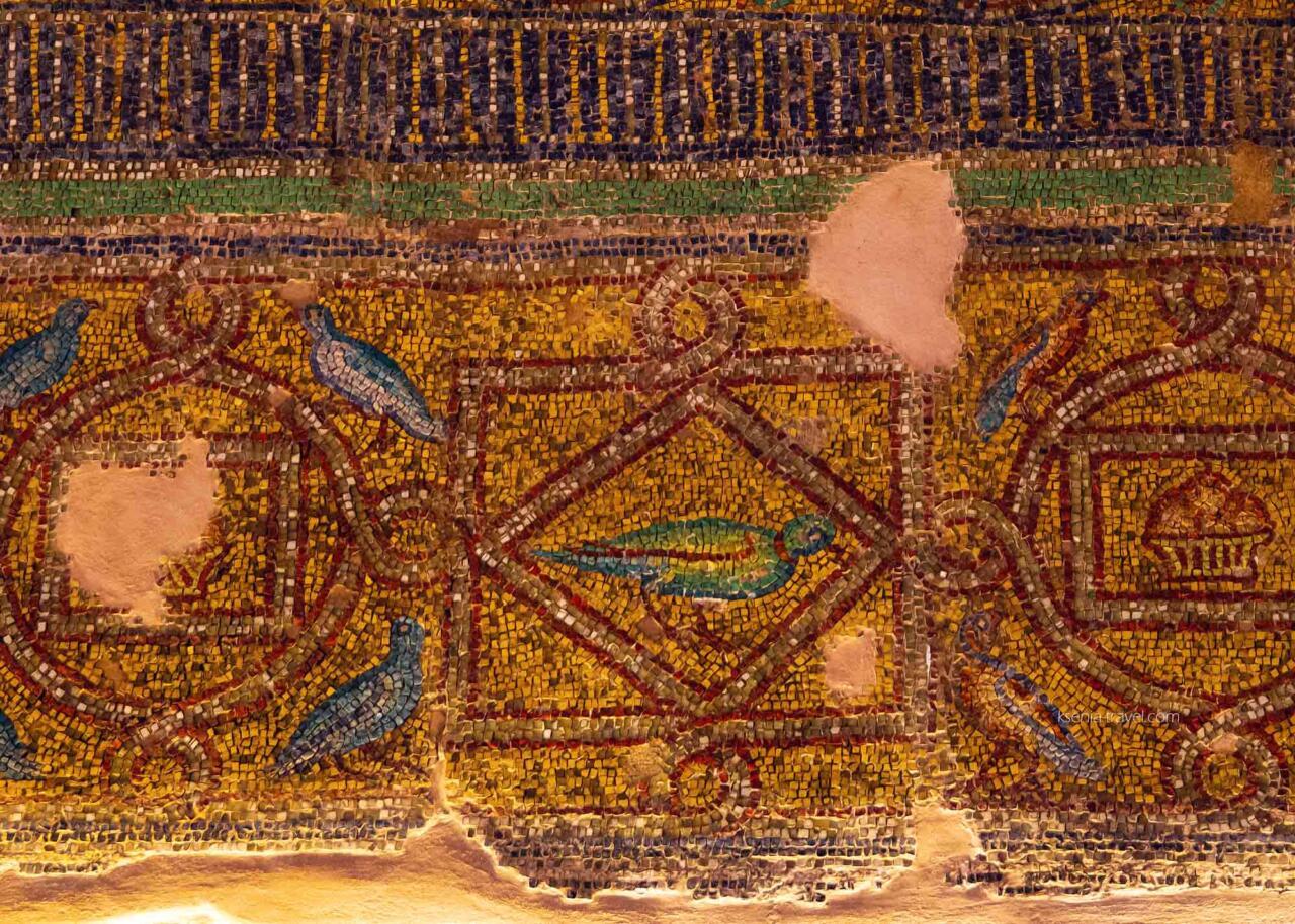 элементы мозаики в Ротонде с изображением птиц, Салоники, Греция
