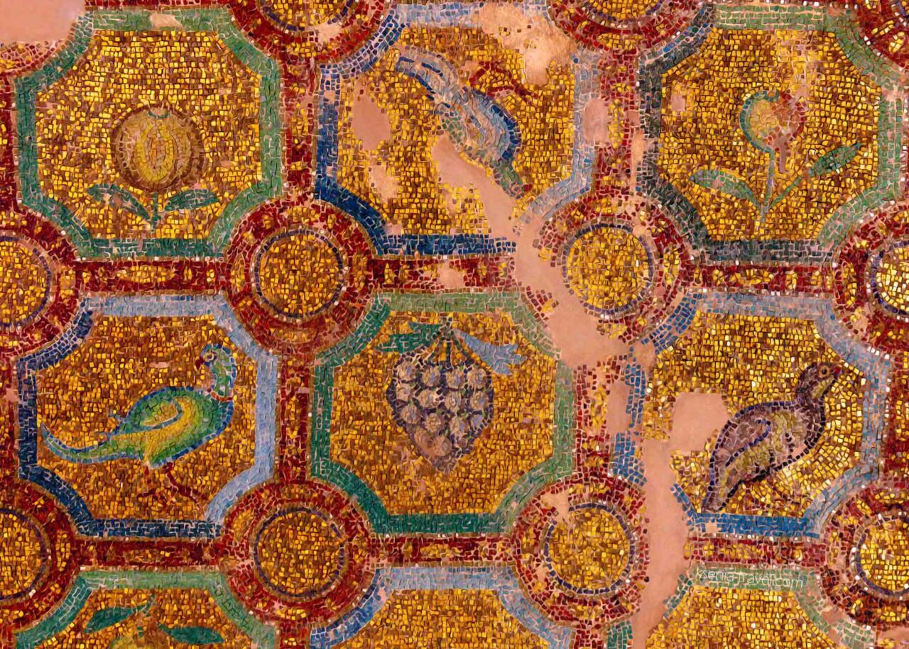 узоры мозаики в Ротонде города Салоники, Греция