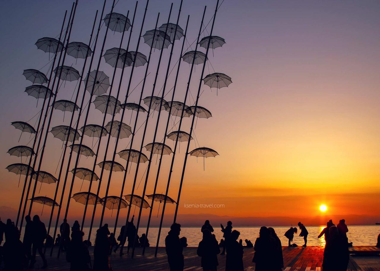 зонтики, достопримечательности Салоники