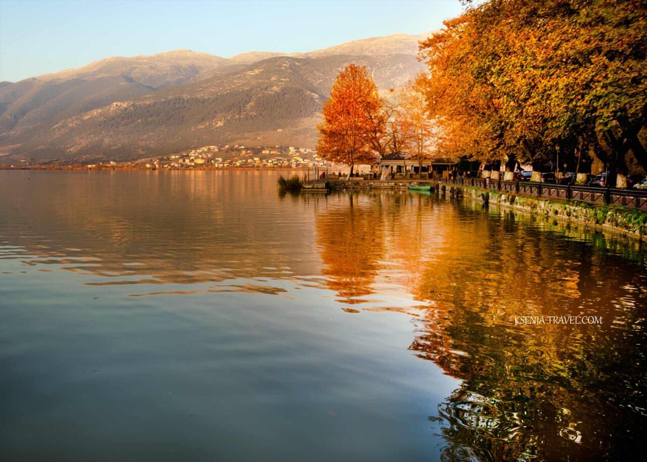 город Янина на севере Греции, озеро Памвоида