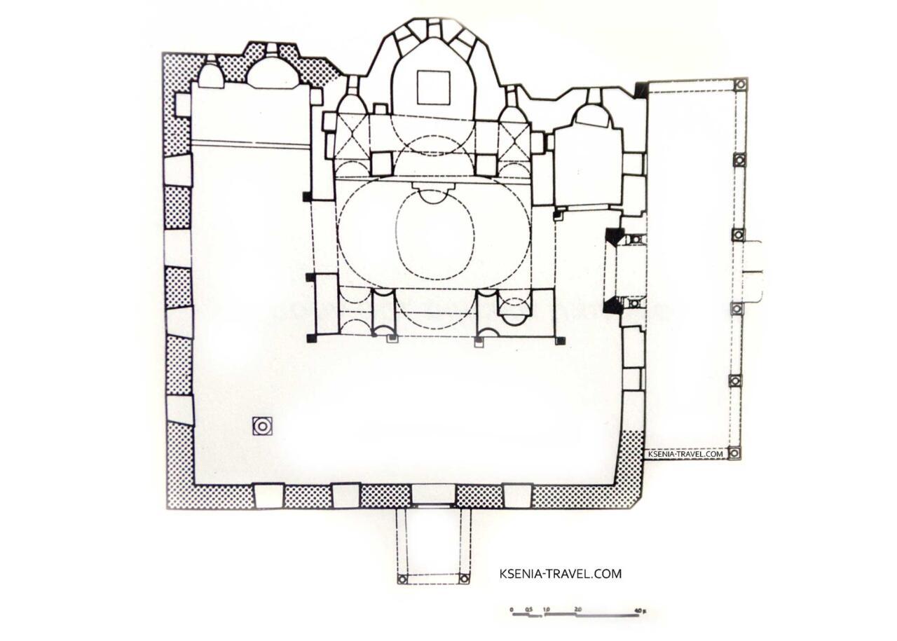 план храма монастыря Влатадон, достопримечательности Салоники
