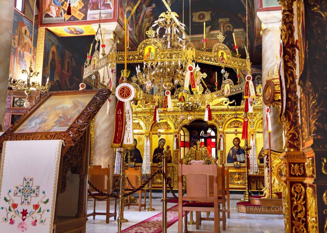 внутреннее убранство храма монастыря Святой Феодоры Солунской, достопримечательности Салоники