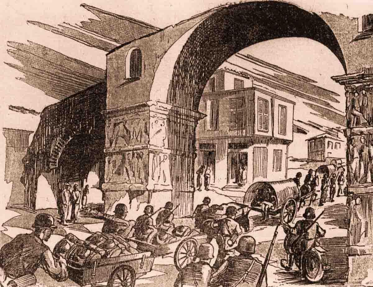 рисунок уход немцев из Салоников в 1944 году