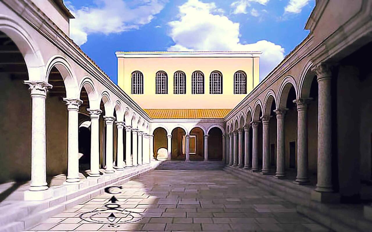 вход с юга в арочный зал дворца Галерия