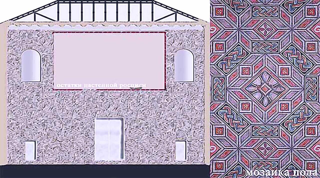 схема арочного зала дворца императора Галерия в Салониках