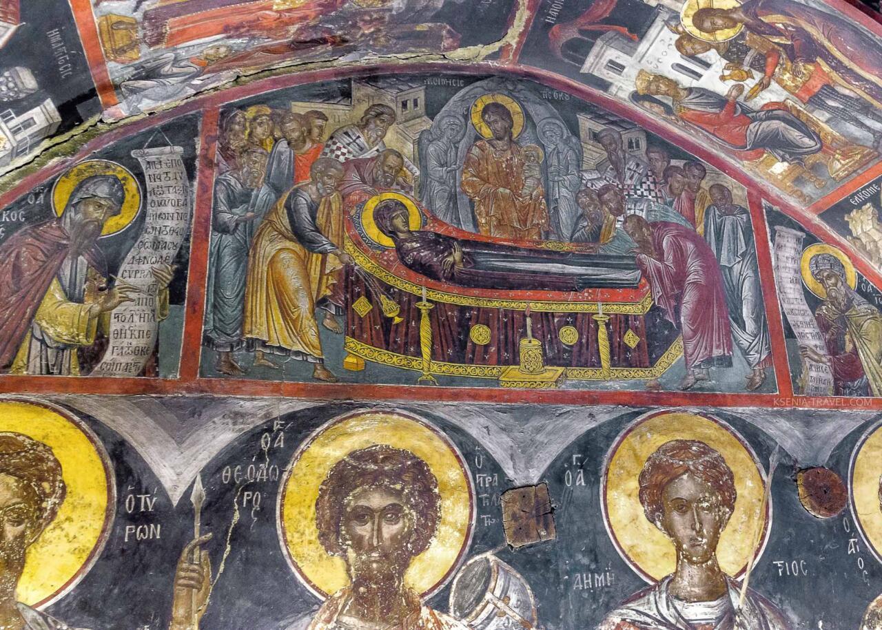 Фреска успения Богородицы в монастыре Николая Анапавсаса, Метеоры Греция
