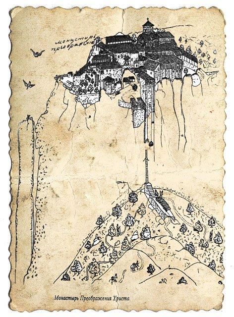 рисунок монастыря Метеор