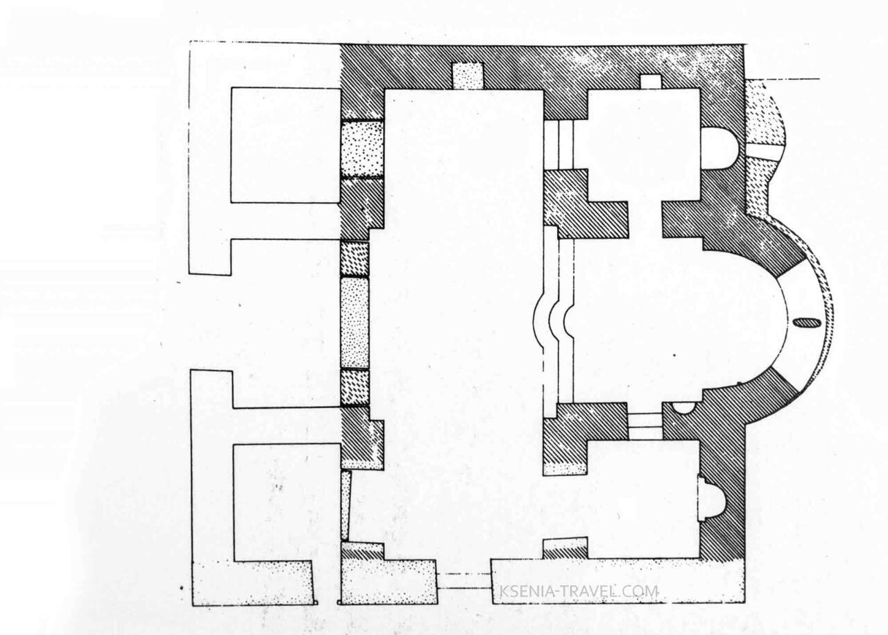 План схема монастыря Латому, Салоники